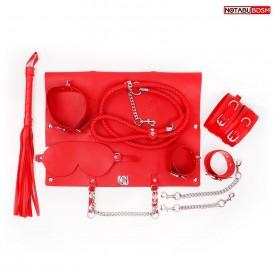 Красный набор БДСМ в сумке: маска, ошейник с поводком, наручники, оковы, плеть