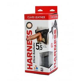 "Насадка-фаллоимитатор на кожаных трусиках Harness Ultra Realistic 5,5"" - 17 см."
